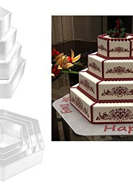 EURO-TINS-teglia-per-torta-nuziale-4-strati-Esagonale-set-da-4-15cm-20cm-25cm-e-30cm-0