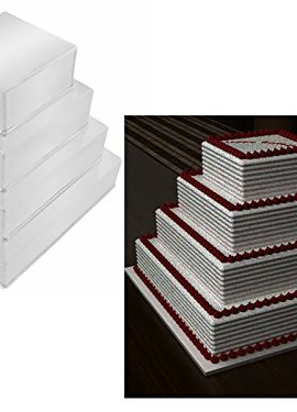 EURO-TINS-teglia-per-torta-nuziale-4-strati-Quadrata-set-da-4-in-pi-10-cm-profondit-0